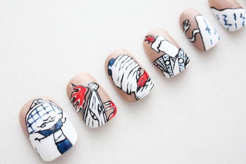 【手近妖怪尽くし・白茶】妖怪ネイルチップ