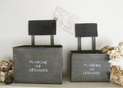 ブリキのガーデンポット*植木鉢・プランター ミニ黒板/セレクト雑貨