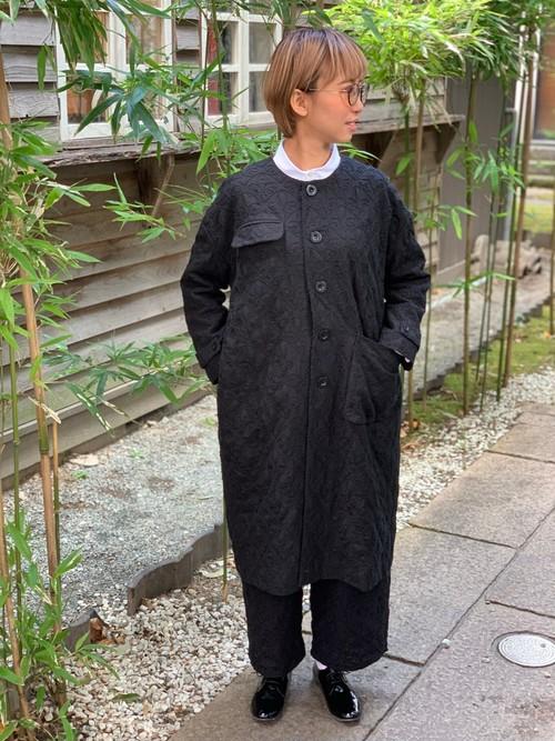 WOMENS:LILOU+LILY【リルアンドリリー】CREST EMBROIDERY SPRING COAT(ブラック/ブラック:ワンサイズ展開38)紋章コード刺繍スプリングコート