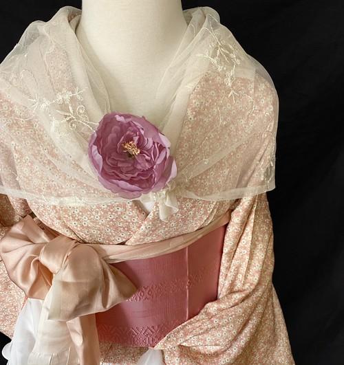 〈小さな小さな小花の小紋〉薄桃 トール 今っぽい 仕付け付き 未使用品 春コーデ 和装MIX