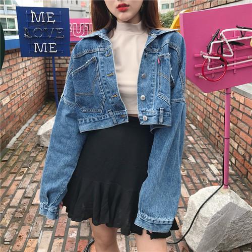 long sleeve short denim jacket 2979
