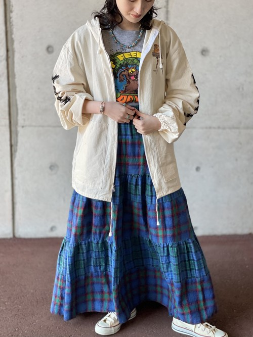 Vintage Plaid Print Flannel Tiered Skirt