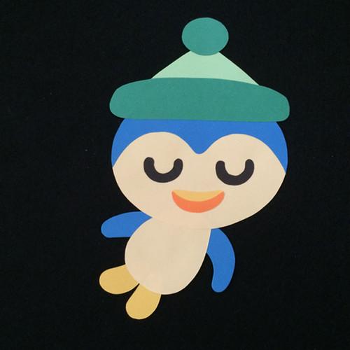 ペンギン(緑帽子)の壁面装飾