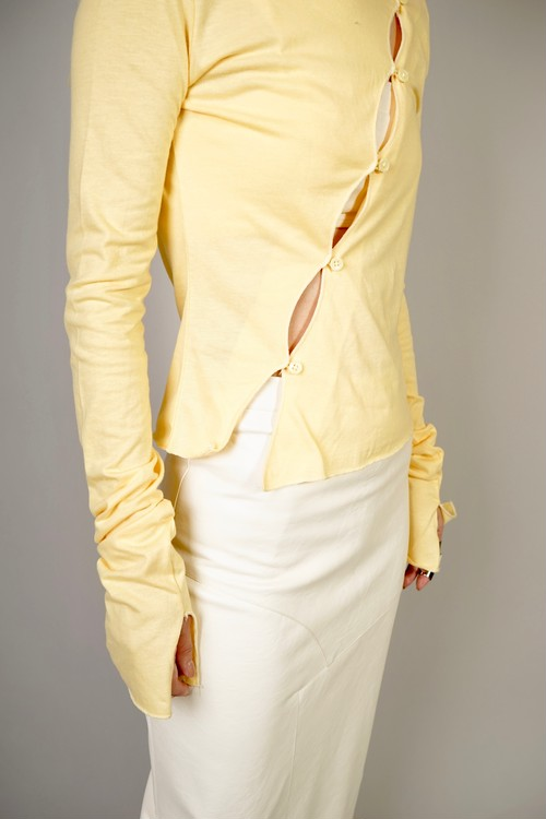 BUTTON SLIT TOPS  (YELLOW) 2102-91-42