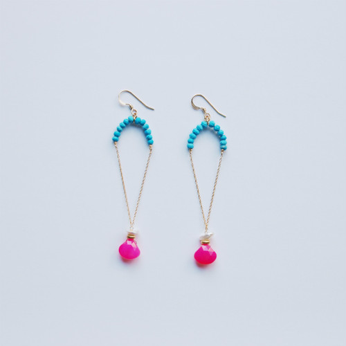 Turquoise × Pink Calcedony × Pearl Pierced Earrings