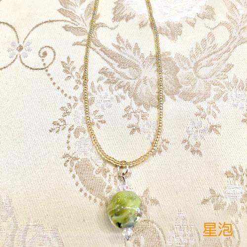 Item121 泡玉とんぼ玉ネックレス一連 星泡(淡い黄色)