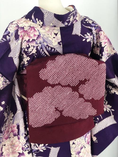名古屋帯 なごや帯 帯 リサイクル帯 カジュアル帯 ポイント柄 雲文様 絞り 送料無料