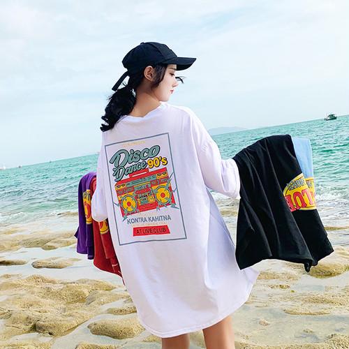 【トップス】プリントファッション半袖プルオーバーTシャツ21700471