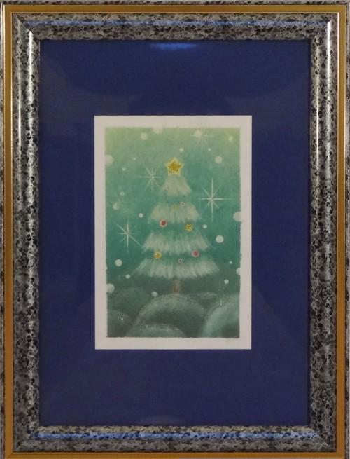 クリスマス パステル画 手描き No.0113