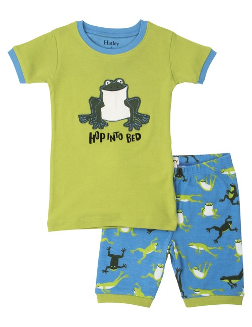 Hatley カエル Boy'sパジャマ(OrganicCotton100%) Hopping Frog Short PJ Set