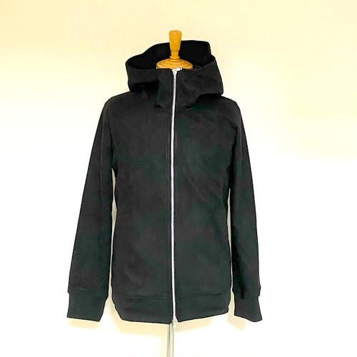 Stretch Suede Hooded Blouson Black