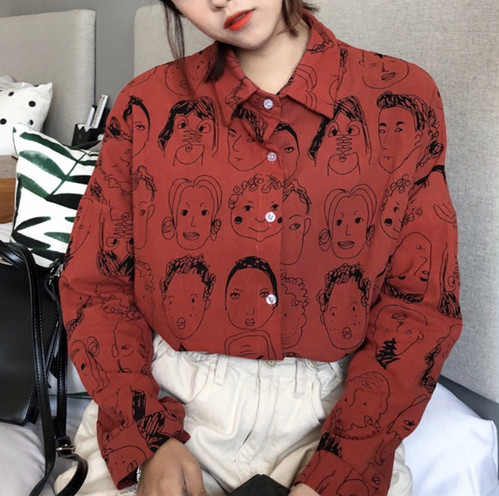 ♡face printed loose shirts 4515