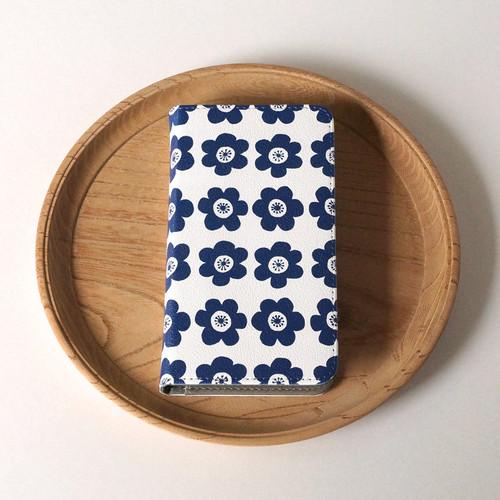 【マルチタイプ:Android と iPhone に対応】帯なし*手帳型*スマホケース「 anemone ( deep blue )」● 受注生産