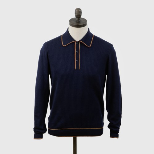 "Art Gallery Clothing | Twin Tipped Knit Polo ""Isley"" - Navy"