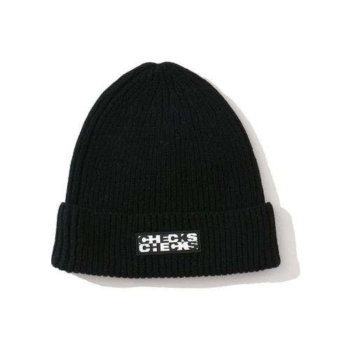 CHECKS Merino Wool Ribbed Beanie(BLACK)