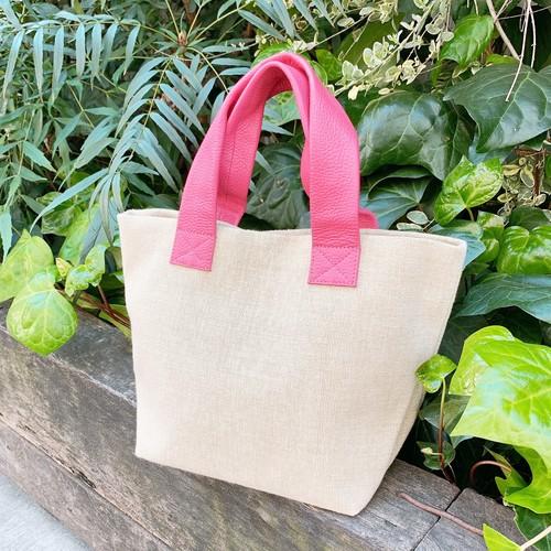 【イタリア牛革×インド綿】極軽カラフルトートバッグ Sサイズ〈7色展開〉 イタリアンレザー インド綿 軽い トートバッグ