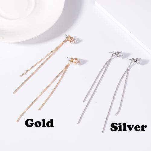 【注文商品】【アクセサリー】Luxury Simple Snake Chain Pendent Piercing B【2 Color】