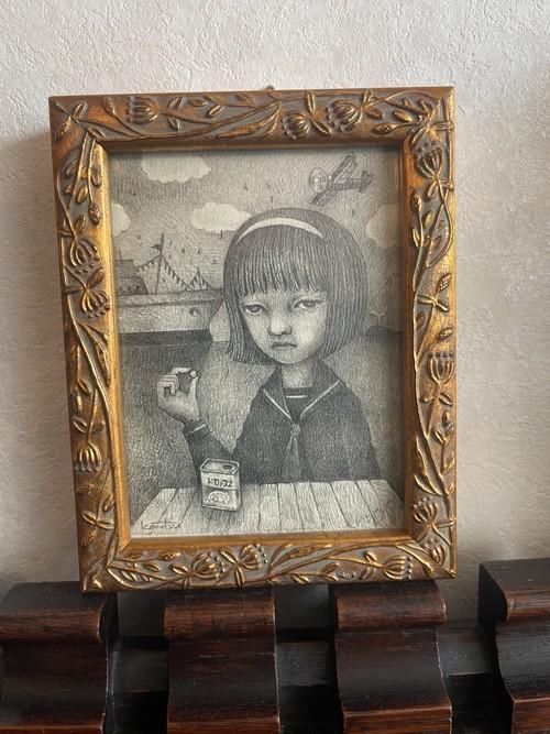 こまつたかし 「ドロップと少女」 鉛筆画