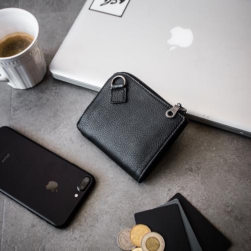 イタリア製レザー L型ウォレット 機能的 財布 Italy leather L ZIP wallet