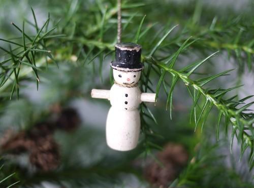 木製クリスマスオーナメント 雪だるま wooden doll ペグドール