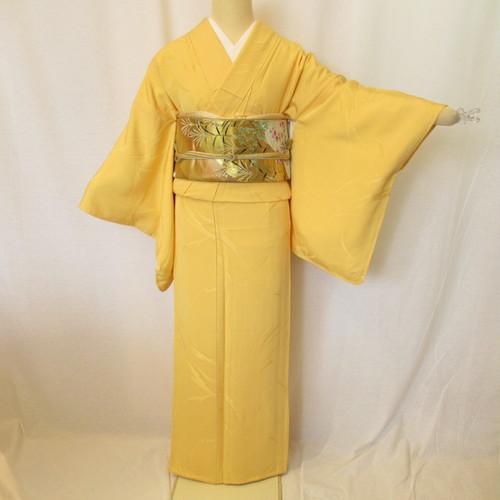 レモン色無地紋付き1395と西陣織袋帯4点セット