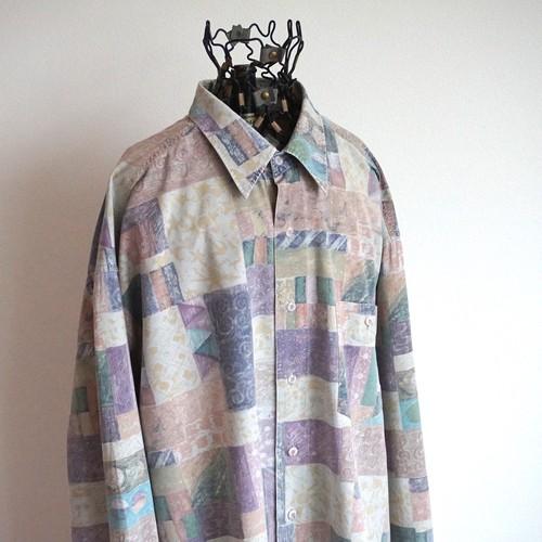 1990's [jac tissot] レーヨン×コットン L/S シャツ 抽象アート柄 表記(XL)