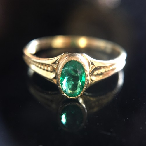 Emerald &Gold Victorian Pinky Ring