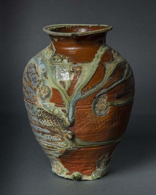 自然釉三筋壷