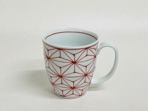 麻の葉(一珍)波マグカップ赤