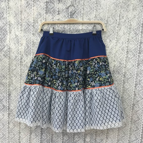 triple tiered skirt〈blue×orange〉
