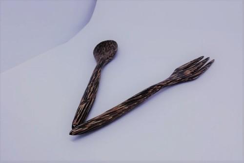 (OW003) 木製スプーン・フォークセット(ブラウン)