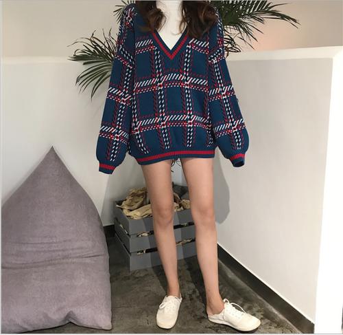 【お取り寄せ商品】レトロチェック柄セーター 8449