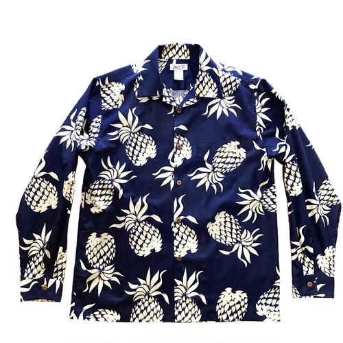 Mountain Men's 長袖オープンアロハシャツ / Pineapple Navy  残り僅か