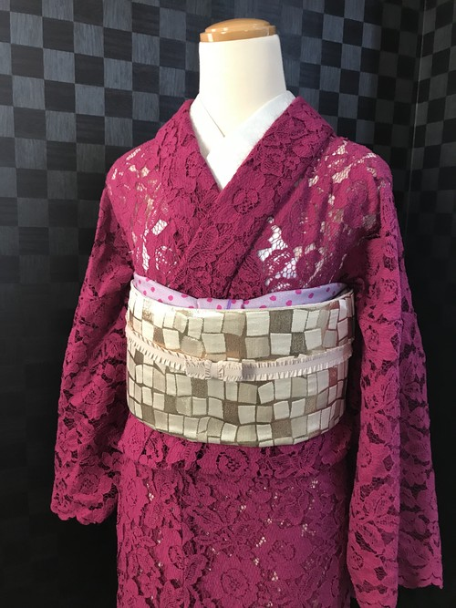 濃いピンクパープルのレース着物【単衣】