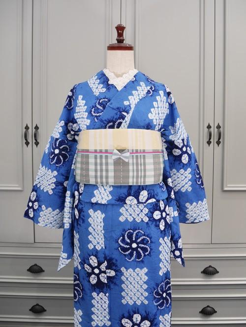 有松鳴海絞り浴衣*新品*コバルトブルー市松に花