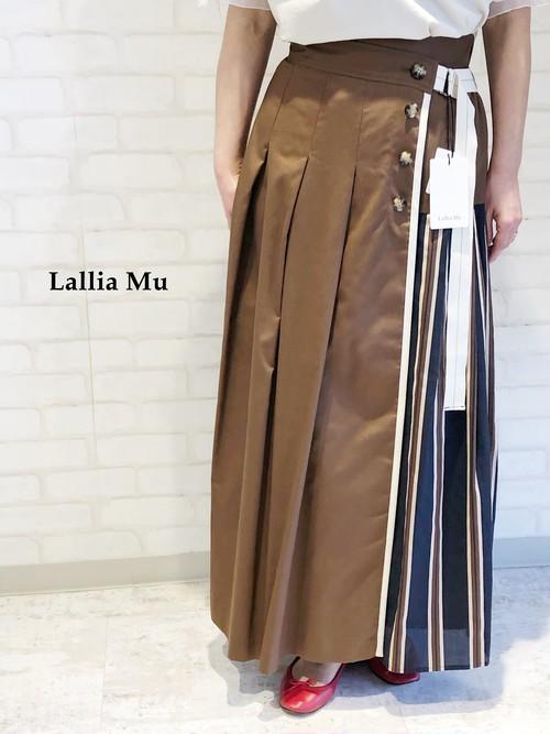 Lallia Mu/ストライプ柄ドッキングスカート/2112834(ブラウン)