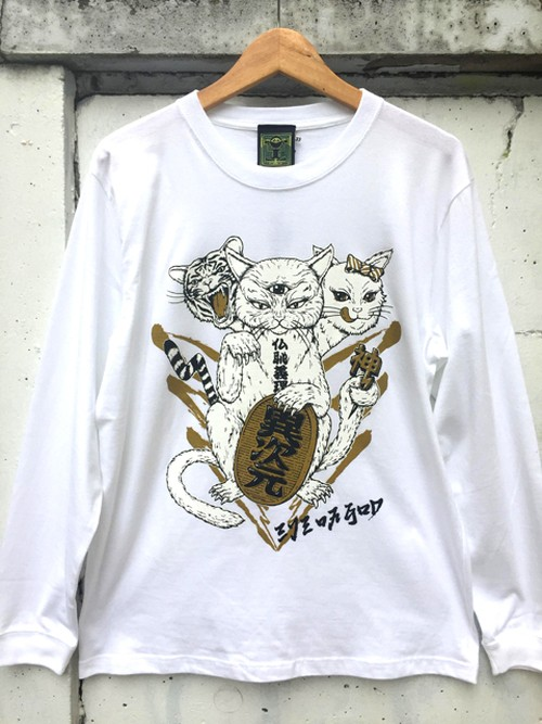 『Lucky cat』Long sleeve T-shirt White