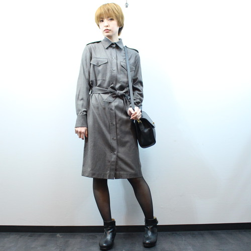 .HERMES WOOL BELTED SHIRT ONE PIECE MADE IN ITALY/エルメスウールベルテッドシャツワンピース2000000028613