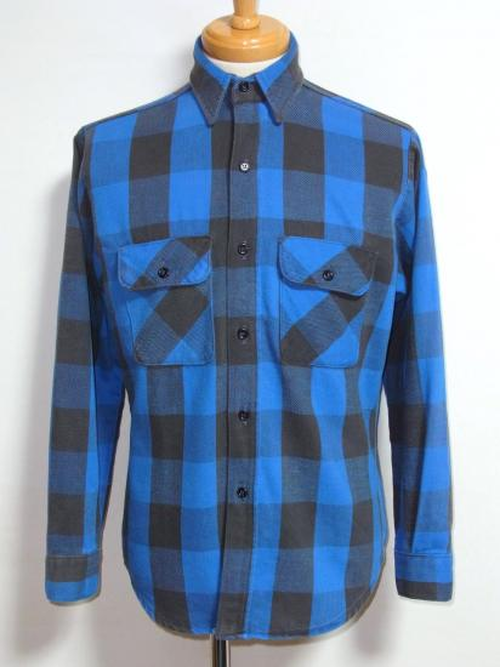 1980's バッファローチェックヘヴィーネルシャツ 青×黒 実寸(M位)