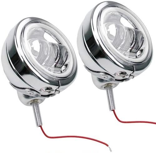 LED フォグランプ LEDフォグ 汎用 ハーレー風 補助ライト 4.5インチ DC 12V/24V 30W【イカリング付き】【シルバー】 2個セット