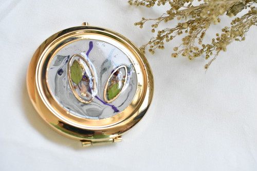 marble compact mirror(gold)