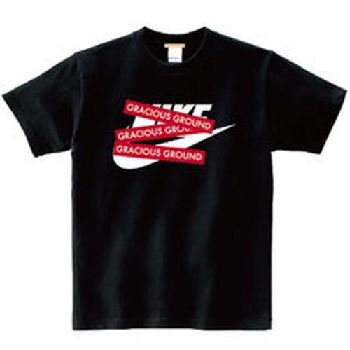 プリント ロゴ Tシャツ 半袖  ブラック ブランドパロディデザイン!GRACIOUS GROUND ボックスックスロゴ ブラック
