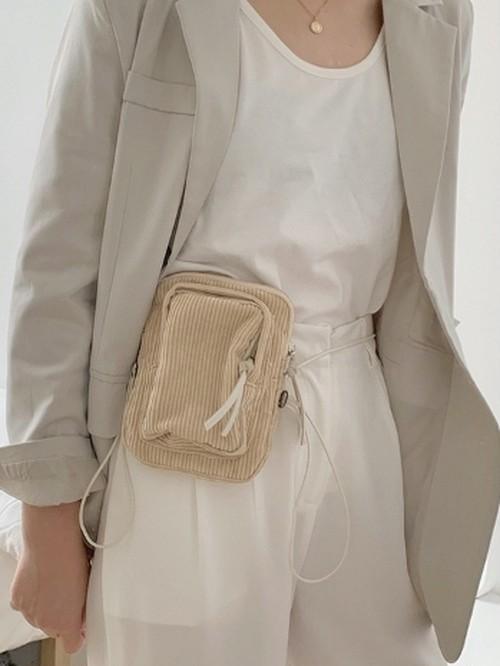 コーデュロイポシェットバッグ  韓国ファッション