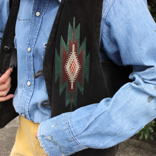 Suede leather native vest