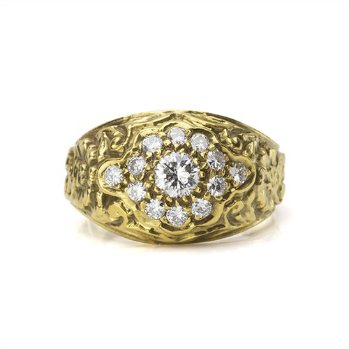 American Art Nouveau Diamond Cluster Ring