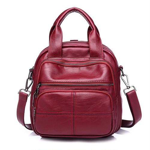 PU Leather Backpack Solid Bag Large Capacity Casual Bag カジュアル レザー バックパック リュック ソリッドカラー (HF99-6742607)