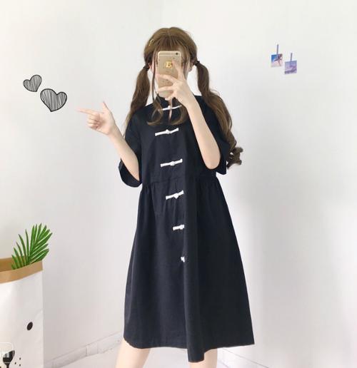 【送料無料】チャイナ系 民族服風♡ 変わり ボタン付き ロングワンピース