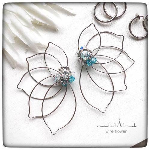 《縦6cm》羽のような花のイヤーチャーム 6.0