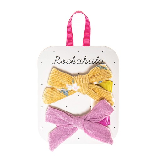 H1427O Florence Tied Bow Clips Ochre