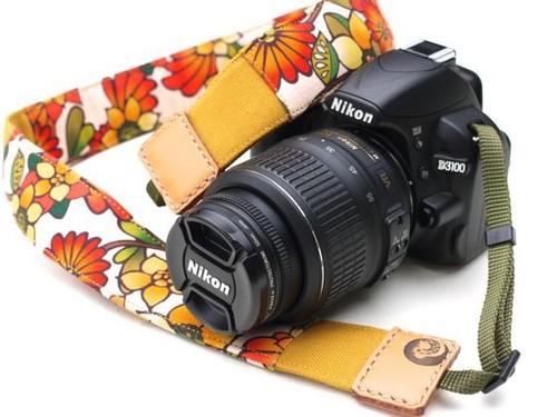 カメラストラップ 4㎝巾 一眼レフ用 両面 花柄デザイン 石垣島の花たち 黄色